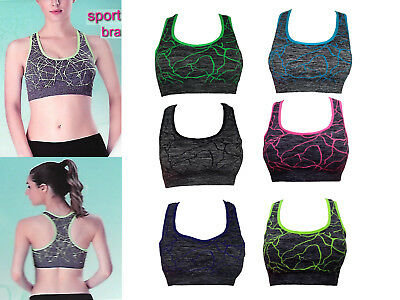 0e5ac81feba38 Womens Padded Sports Bra Ladies Crop Top Gym Yoga Workout Run Fitness  Exercises