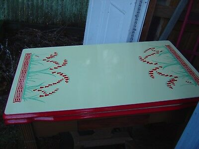 Vintage  Enamel  Table - Antique Enamel Kitchen Table With 4 Chairs