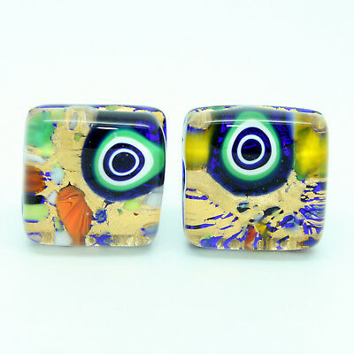 Gold and Multi Coloured Millefiori Murano Square Handmade Cufflinks from Venice
