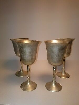 "4 Brass Wine Goblet Chalices India,7 1/2"" Tall, Top 3.75""  Bottom 2 7/5"""