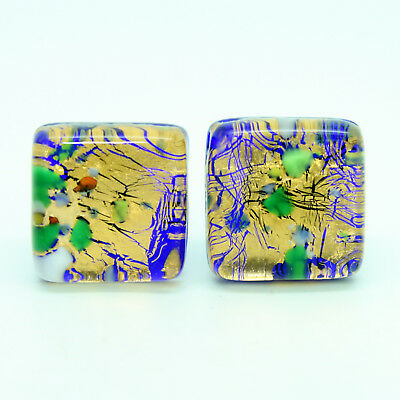 Multi Coloured Gold Millefiori Murano Square Handmade Cufflinks from Venice