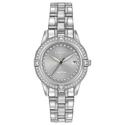 Citizen Eco-Drive Women's Swarovski Crystals Silver-Tone 29mm Watch FE1150-58H