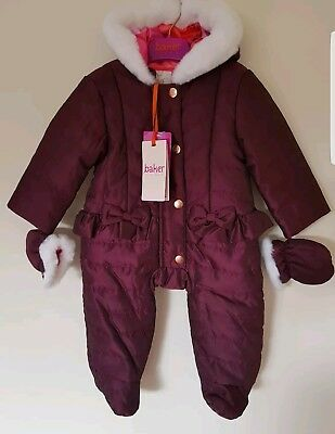 Ted baker Baby Girl's Snowsuit /All in one & Mittens Set. 3-6 Months. Rrp £45.00