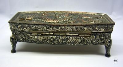 Antique Japanese Jewelry Box - Footed - DRAGON on Lid - Lined Trinket Box