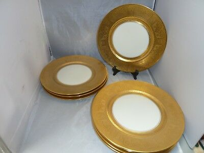 "SET 8    Gold Encrusted DINNER CHARGER PLATES 10 7/8 "" BOHEMIA CZECHOSLOVAKIA"