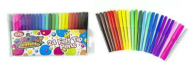 24 Pack Felt Tip Pens Fibre Tipped Drawing Markers Painting Colouring Art