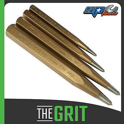 SP Tools 4pc Centre Punch Set 8, 10, 12 & 16mm Cr-Mo Hex Shank - SP30931