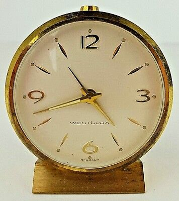 Vintage Westclox Brass Tone Metal Acrylic Face Wind Up Travel Alarm Clock Ticks