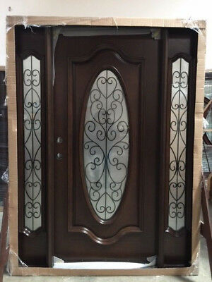 Summer Sale!!!Wood Iron Door Pre-hung &Finished TMH7650-5 Frosted Glass