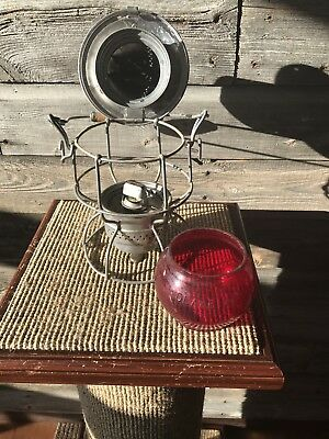 Vintage CPR Canadian Pacific Railway Lantern Ruby Red Globe