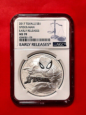 2017 ~ 1 oz Tuvalu Spiderman Marvel Series Silver Coin ~ NGC MS 70 ~ ER