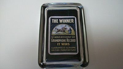 Gramophone Record Double Sided Winner Logo British Advertising Glass Paperweight