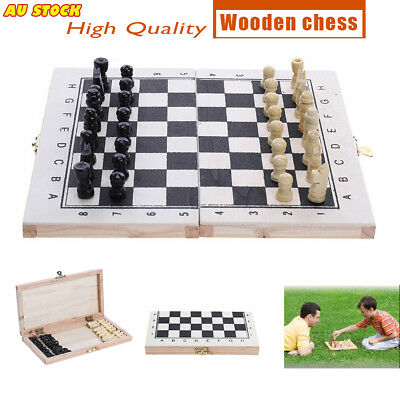 Portable Chessboard Foldable Wood Box Set Kids/Children Game Toy Puzzle Chess