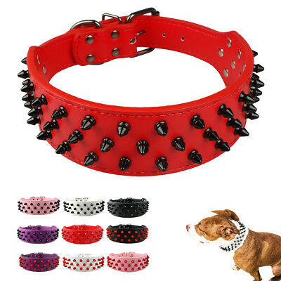 Spiked Studded PU Leather Dog Collars for Medium Large Dog Rottweiler Pit Bull
