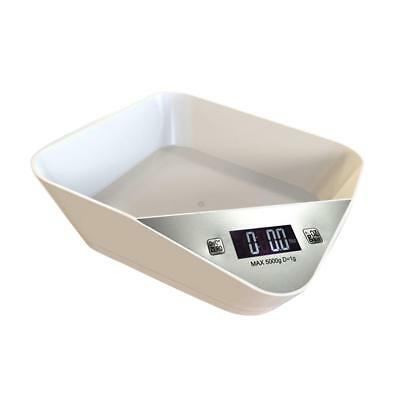 1x Digital Kitchen Scale 5kg Plastic Cooking Food Weighing Scale White