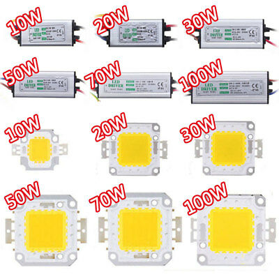 10W 20W 30W 50W 70W 100W LED Chip Bulbs + Driver Waterproof Power Supply Adapter