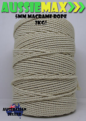 5mm Macrame Rope 100% Natural Cotton Cord 2kg 300 Meters