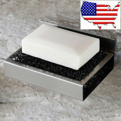 (USA) Bathroom Stainless Steel Soap Dish Holder Self Adhesive Saver Accessory