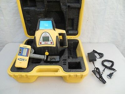 Leica Rugby 400 DG Dual Grade Rotary Laser Level Charger Remote Receiver