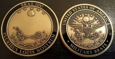 Military Children (Brats) ID Seal Milestone Challenge Coin & Pin, 2 pc Set