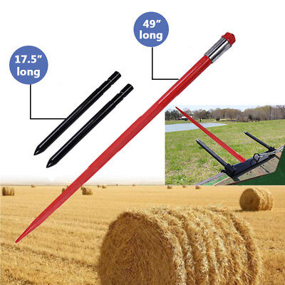 """49"""" Tractor Hay Spear & 2 Stabilizers Skid Steer 3000lb Capacity Heavy Duty"""