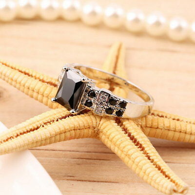 Cool Fashion Popular Men's Black Zircon Finger Ring Size 7-9 Gift J@