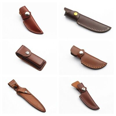 Premium Leather Pouch Folding Pocket Knife Pouch Hunting Belt Sheath Outdoor