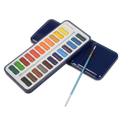 24-Block Artist Watercolour Painting Set in Metal Tin Travel Case + Brush TH715