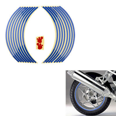 "Blue 18"" Rim Tape Decals Vinyl Stickers Stripes Reflective Motorcycle Wheel"