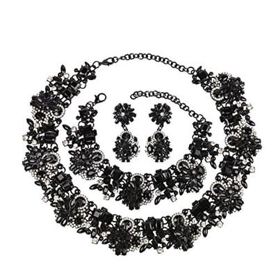 Crystal Vintage Statement Necklace Earrings And Bracelet Jewelry Gift Set NEW