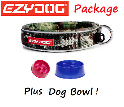 EZYDOG PACKAGE CAMO Neo  Dog Collar & Stainless Steel Food Bowl - All Sizes