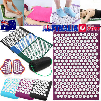 Massage Acupressure Mat Yoga Shakti Sit Lying Mats Cut Soreness+ Gloves & Pillow