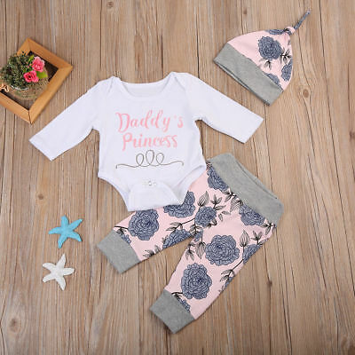 Neugeborene Baby Mädchen Strampler Langarm Body Overall Hose Hut Outfits 4pc Set