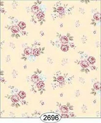 *SALE* Dollhouse Miniature 1:12 Scale Wallpaper Rose Hill Small Floral Pink