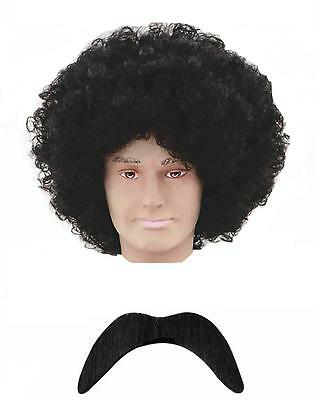Supreme Emporium 118 118 Fancy Dress Up Black Wig & Moustache Tash Set Costume