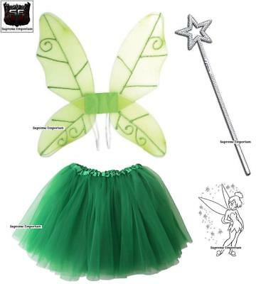Supreme Peter Pan Fairy Angel Tinkerbell Fairy Wings Wand & TuTu Fancy Dress