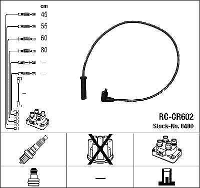 Ignition Ht Lead Set Ngk Rc-Cr602             8480