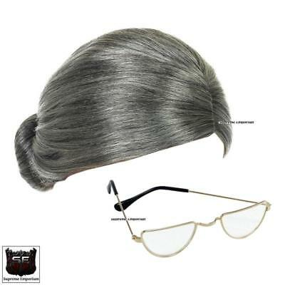 Supreme Granny Fancy Dress Grey Wig Half Moon Glasses Set Old Lady Grandma Kit