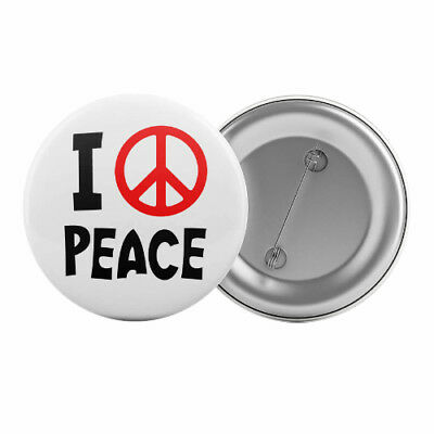 "I Love Peace - Badge Button Pin 1.25"" 32mm Sign Symbol"