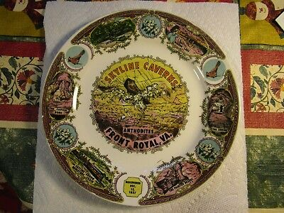 "Rare+Vintage Pocelain [SKYLINE CAVERNS] Anthodites Virginia  Souvenir 9"" Plate"