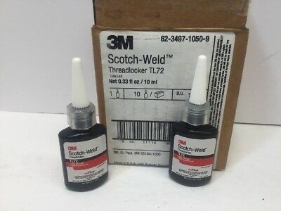2 New .33fl Bottles 3M Scotch-Weld Threadlocker TL72 High Strength, High Temp.