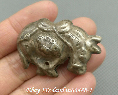 Collect Chinese old Miao silver carve Zodiac cattle beast amulet lucky pendant