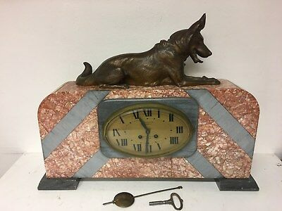 Huge Art Deco Marble Striking Mantel Clock with Spelter Alsatian