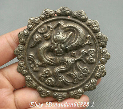 Collect Chinese old Miao silver carve Zodiac dragon beast amulet lucky pendant