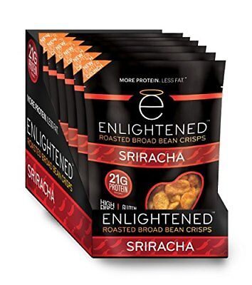 Enlightened Plant Protein Gluten Free Roasted Broad (Fava) Bean Snack, Sriracha,