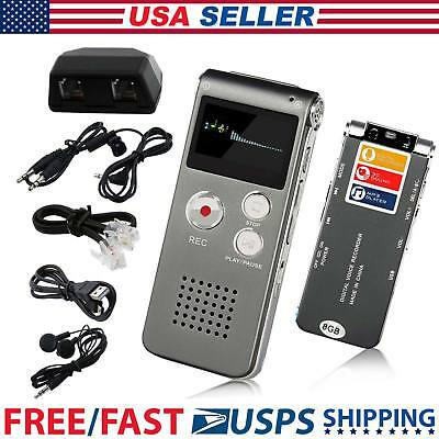 Voice Activated 8GB Mini Digital Spy Audio Recorder Rechargeable Mp3 Dictaphone