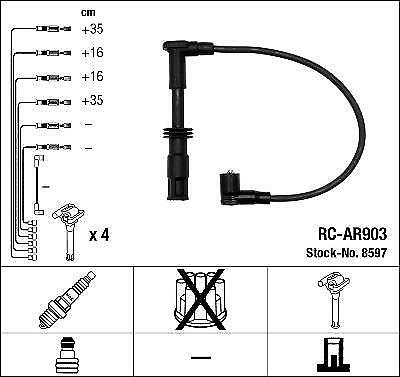 Ignition Ht Lead Set Ngk Rc-Ar903             8597