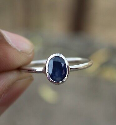 Natural Blue Sapphire 925 Sterling Silver Oval Cut Ring Jewelry Size Us 3 - 13