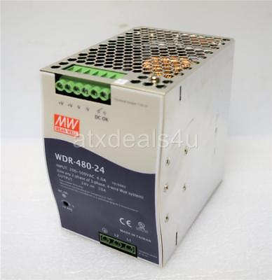 MW Mean Well WDR-480-24 24V 20A 200-500VAC 4.0A 50/60Hz 480W Power Supply A