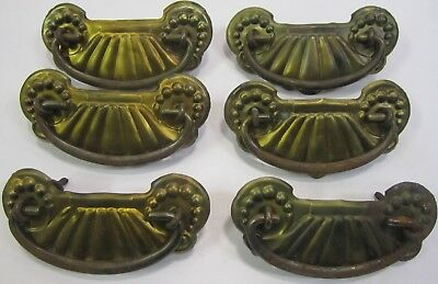 Set of 6 Antique Vtg Depression Art Deco Metal Waterfall Drawer Pulls To Restore
